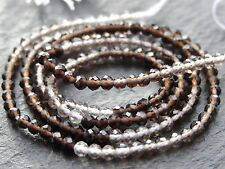 "TINY 2.25mm MICRO FACETED SHADED SMOKEY QUARTZ RONDELLES, 13"", 170 beads"