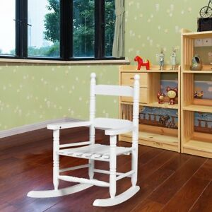 Details About Us Retro Wooden Kids Rocking White Chair Bentwood Lounge Relax Furniture