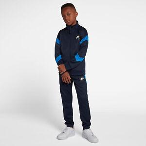 Détails sur NIKE AIR TRACKSUIT TUTA in poliestere AR4021 451 Ragazzo Bambino Sportswear Blu