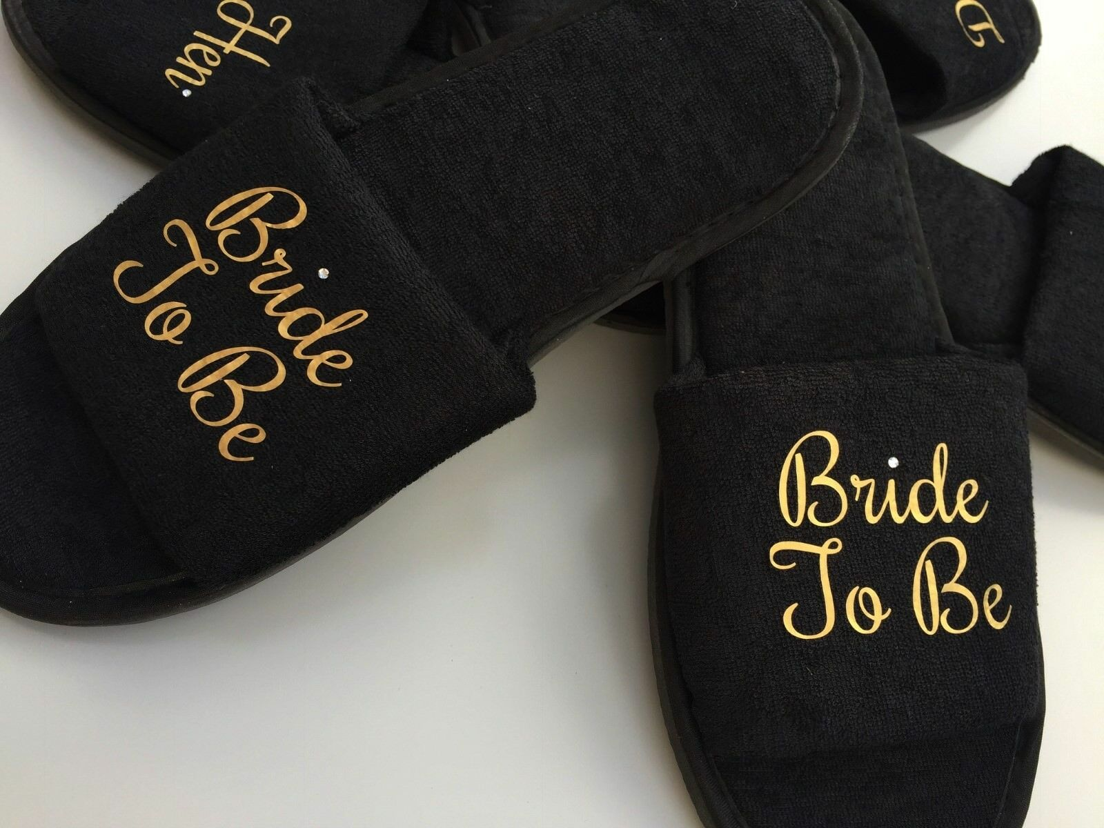 Bride slippers personalised black open toe spa day slippers Bride bridesmaid name groom gift db0859