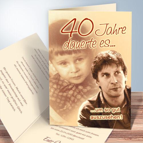 personalisierte Einladungskarten Geburtstag Retro indiv. Damals-Heute-Fotos