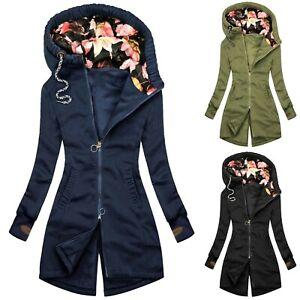Damen Hoodie Sweatshirt Reißverschluss Winter Jacke mit Kapuze Frauen Pullover Hoody Mantel UK