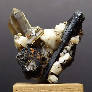 ZB99-BLACK-AEGIRINE-with-SMOKY-QUARTZ-and-ALBITE-CRYSTALS-Zomba-Malawi
