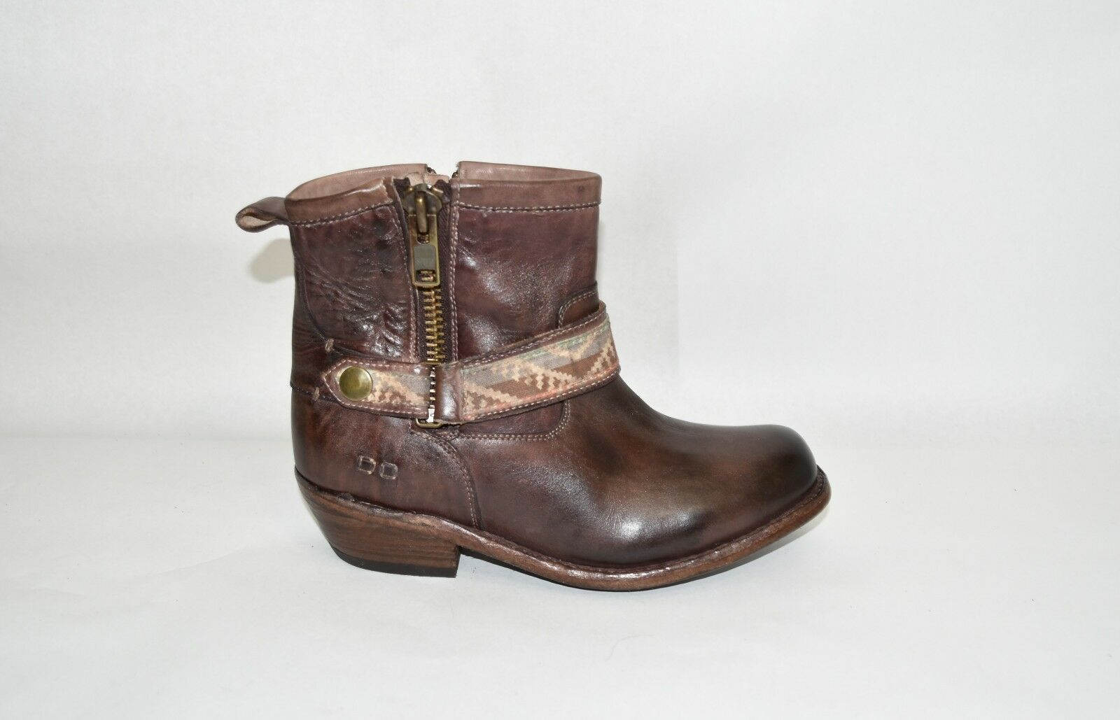 NEW  Bed Stu 'Triple Ankle Boot' Teak rustic Brown Leather Sz 7.5 1684 T11