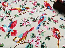 Suave tejido de algodón pesado Tapicería Beige Finch Pájaro Flor por medio metro de #65