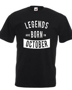 T-SHIRT-LEGENDS-ARE-BORN-IN-mese-Regalo-Simpatico-Compleanno-cotone-uomo-bambino