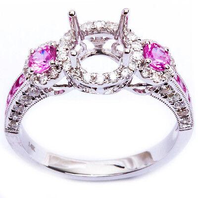 .77ct Halo Style Pink Sapphire Gemstone & Diamond Semi Mount Engagement Ring