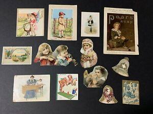 Lot-Of-13-Antique-Victorian-Ephemera-Paper-Die-Cut-Scraps-Children-Singer-Sewing