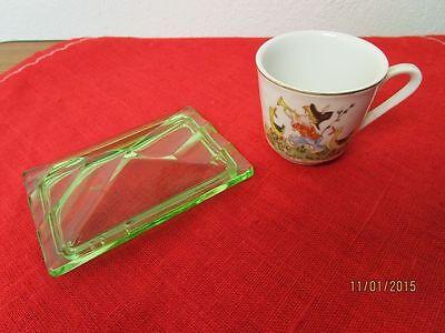 2 Teile: Farbiger Glas Deckel + Kleine Porzellan Tasse /s34 Mit Den Modernsten GeräTen Und Techniken