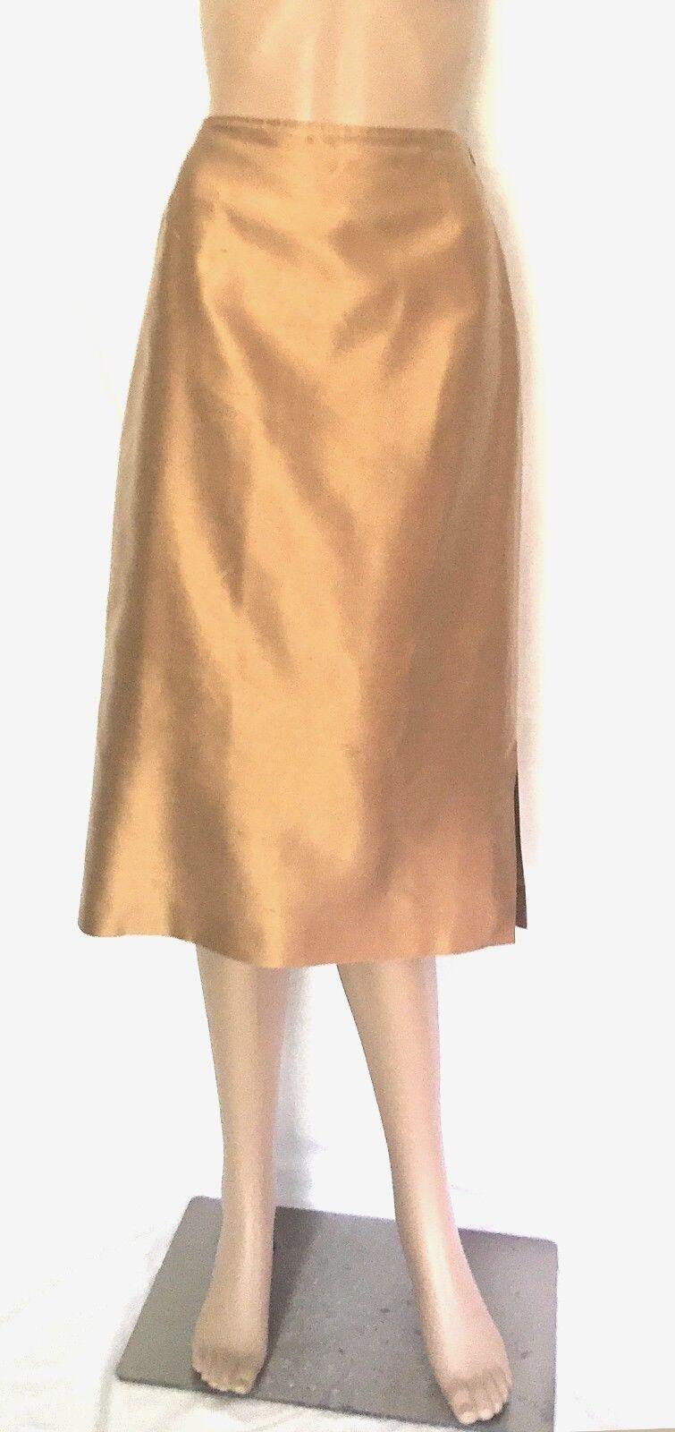 Max Mara gold Pura Seta (Silk) A Line Skirt - Size 6 - EUC