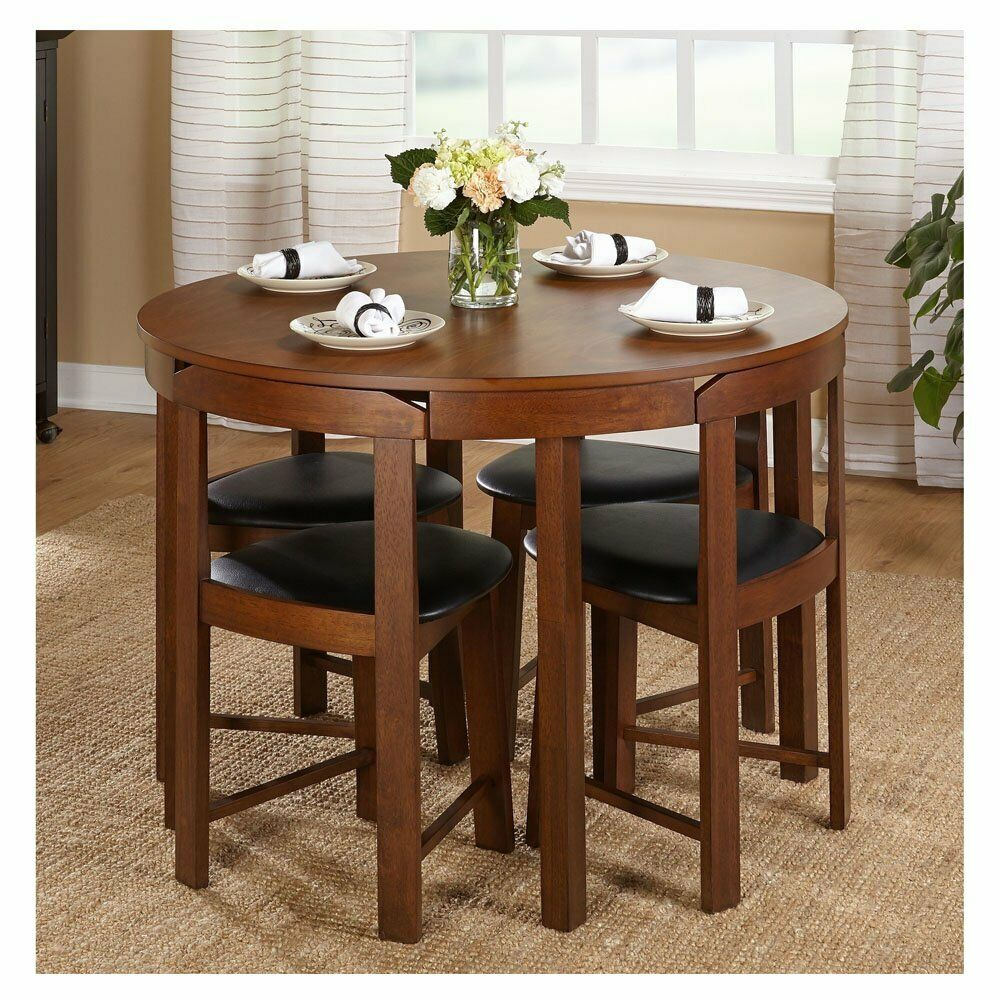 Round Walnut Kitchen Small Table Wood