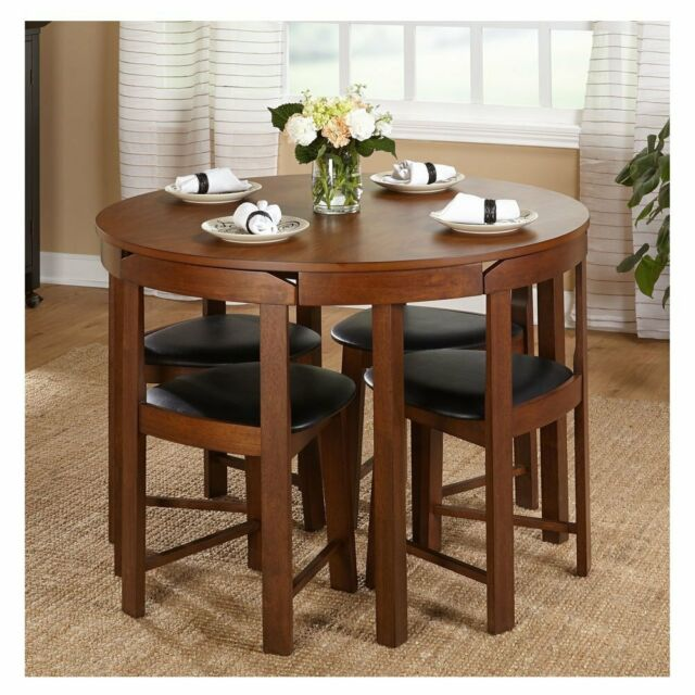 Compact Dining Set 5 Piece Round Walnut, Round Dining Table Small