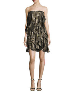 f091b93490762 sold out $525 NWT Halston Heritage Strapless Striped Cocktail Dress ...