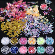 12Colors Ice Mylar Shell Foil Paper Glitter Manicure Acrylic Nail Art Decoration