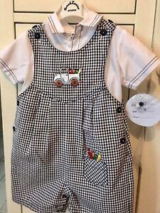 6dce394525c14 BNWT Designer Sarah Louise Boys 2 Piece Romper Outfit Age 12 Months