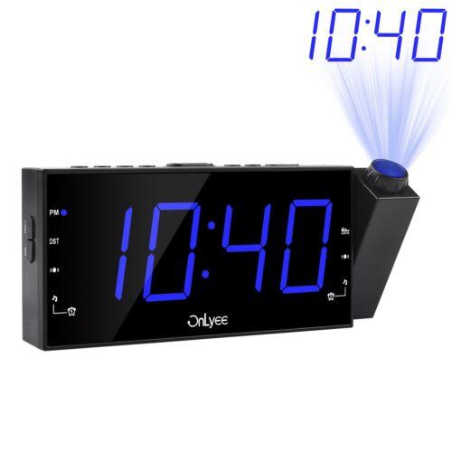 "7"" LED Digital Projection Ceiling Wall Clock OnLyee AM FM Radio Alarm Clock"