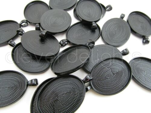 5 10 20 50 100 Dark Black Color DIY Crafts 22x30mm Oval Pendant Trays