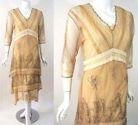 Titanic Victorian Dress L Tan/beige Nataya Gatsby Mother Of The Bride Vtg Look