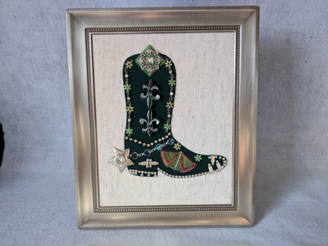 Framed Jewelry Art Green Silver Cowboy Boot Collage Decor Western Rustic Vintage