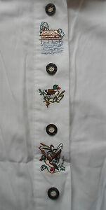 Trachtenbluse-Trachten-Bluse-weiss-Stickerei-Kurzarm-Woodpecker-zur-Wiesn-40-42
