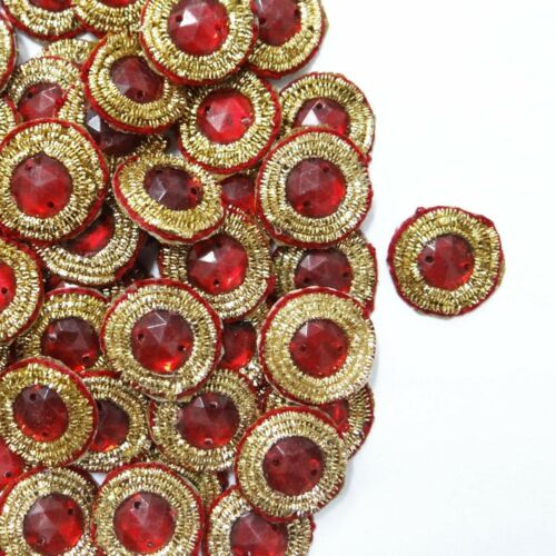Small Round Shape Red Appliques Designer Beaded Crafting Dress Patch 12 Pcs