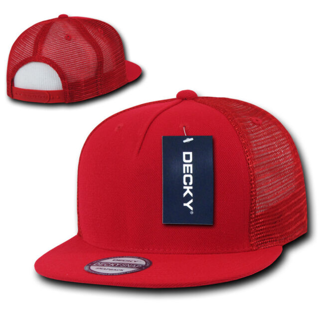 3f0011caa1d ... spain red trucker hat 5 panel flat bill mesh cap vtg retro plain blank  snapback a3309