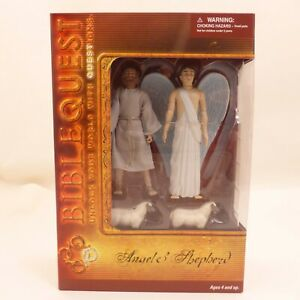BibleQuest Angel & Shepherd Figures Jesus Birth Nativity Bible Character Set