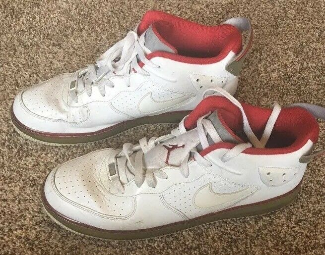 Men's Vintage Nike Air Force One Retro High Top Sneakers, Red & White, Comfortable Seasonal clearance sale