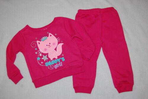 Baby Girls SWEATSHIRT /& SWEAT PANTS Dk Pink DADDY/'S GIRL Kitty 6-9 12 18 24 MO