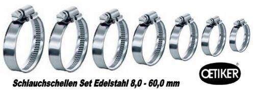 Oetiker colliers de serrage set 8,0-60,0 en acier inoxydable 8 pièces