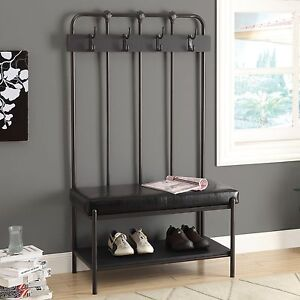Super Details About Black Metal Entryway Hall Tree Coat Stand Home Furniture Decor Storage Bench Caraccident5 Cool Chair Designs And Ideas Caraccident5Info