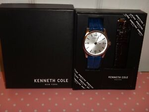Kenneth Cole Gift Set Mens Silver Watch Two Straps Blue   Brown ... 73c5424f0c89c