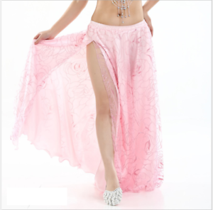 Rose Pattern Mesh+satin Skirt One-side Slit Long Skirt Belly Dance Costumes New Excellent Effet De Coussin