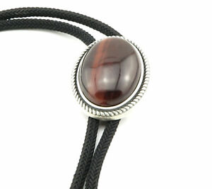 Red Tiger Eye Stone Western Cowboy Rodeo Braided Fabric Neck Bolo Tie
