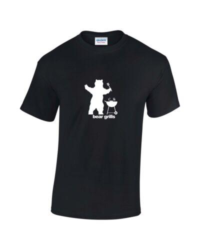 Bear Grills BBQ Funny Slogan Mens Printed T-Shirt