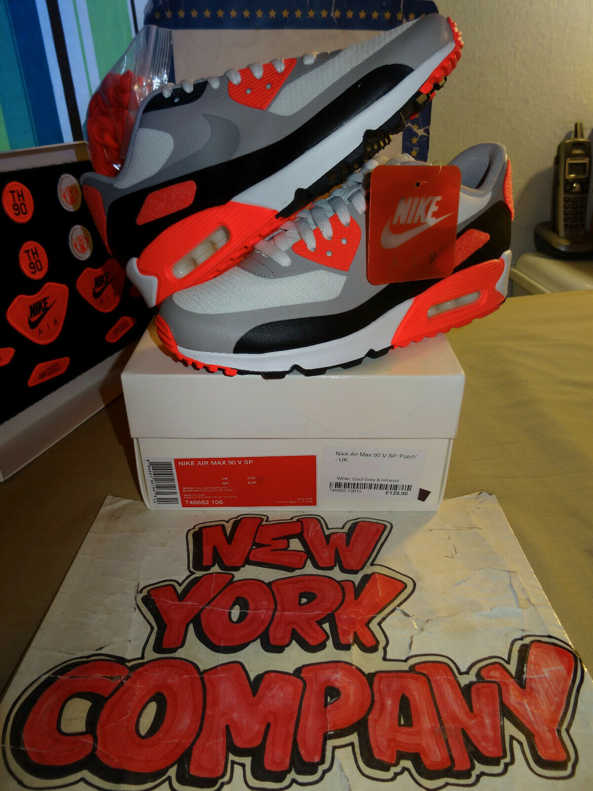 Nike Air Max 90 V SP  Patch  Infrared  White Cool Grey-Infrared 746682 106