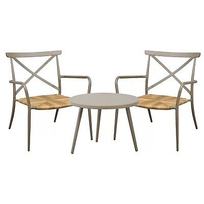 Outdoor Garden Furniture Set OSeasons Patio Table /& Two Chairs Rattan Taupe