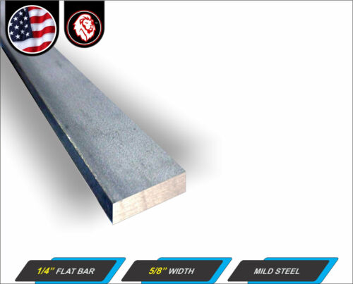 "Metal Stock 3-ft 1//4/"" x 5//8/"" Steel Flat Bar 36/"" Long Plain Finish"