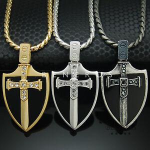 Cubic sword onyx shield pendant chain necklaces silver plated mens la imagen se est cargando cubic espada onyx escudo colgante cadena collares plateado aloadofball Image collections