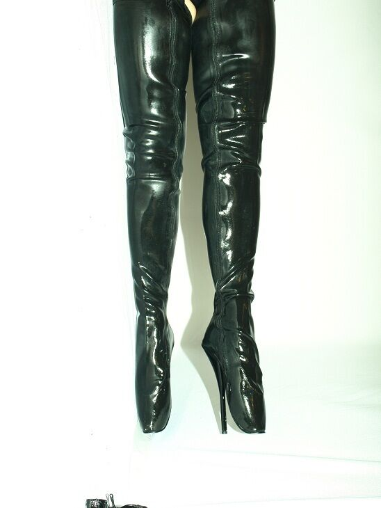 BLACK OR ROT LATEX RUBBER BALLET Stiefel POLAND SIZE 10-16 HEEL-8,5' - POLAND Stiefel FS1027 383d0d