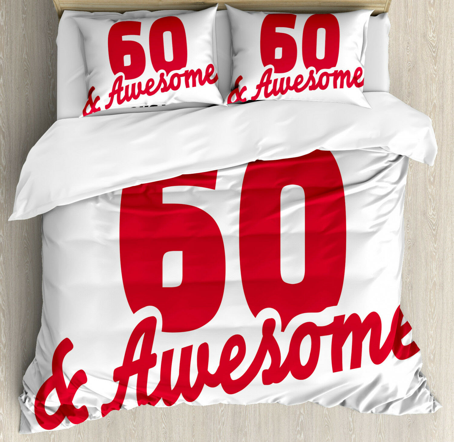 Birthday Duvet Cover Set with Pillow Shams Quote 60 and Awesome Print