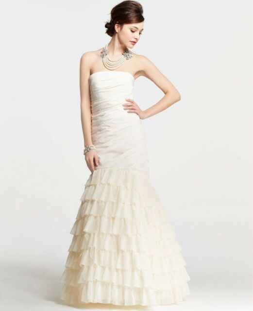 Ann Taylor Trumpet Feather Accent Wedding Bridal Dress Gown 14 1500
