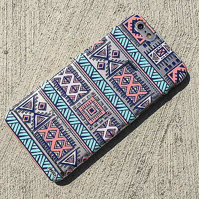 """2015 Clear PC Plastic Case Cover for Iphone 5 6 5.5"""" Plus Aztec Tribal Ethnic"""