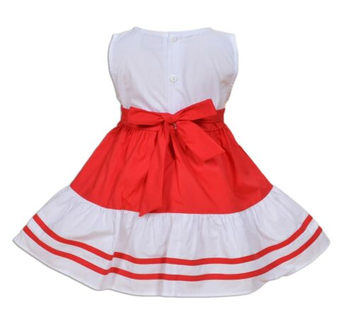 New Baby Girls Cotton Party Dress Blue Red 3 6 9 12 18 Months