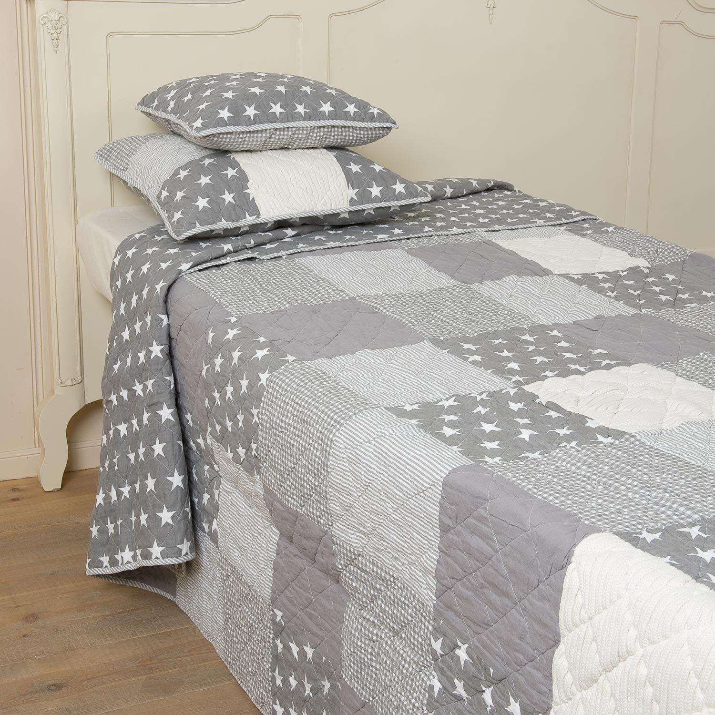 COPRILETTO grigio STARS 260x300 grigio bianco con inserto maglia QUILT STELLE USA