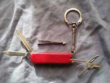 Porte clé canif Stainless couteau 4 ouvrages lame ciseaux lime pince