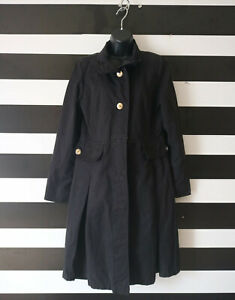 Cotton Button Donatella Coat Women's Black 10 Størrelse Long Front Blend IIqOFYx