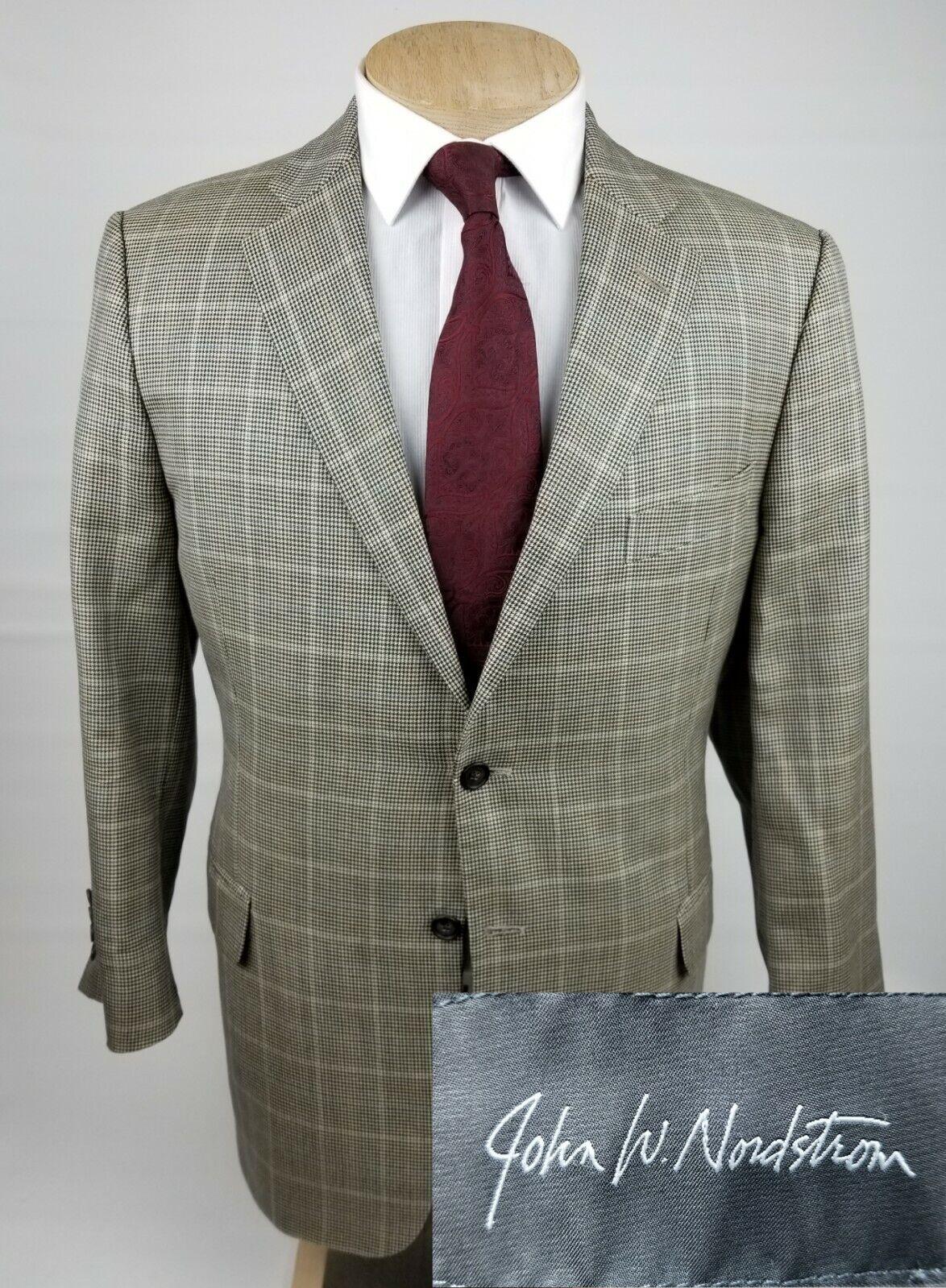 JOHN W NORDSTROM Men's Sport Coat 44R Wool   Silk Blazer Brown Plaid Houndstooth