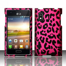 For LG Optimus Extreme L40G Rubberized HARD Case Phone Cover Hot Pink Leopard