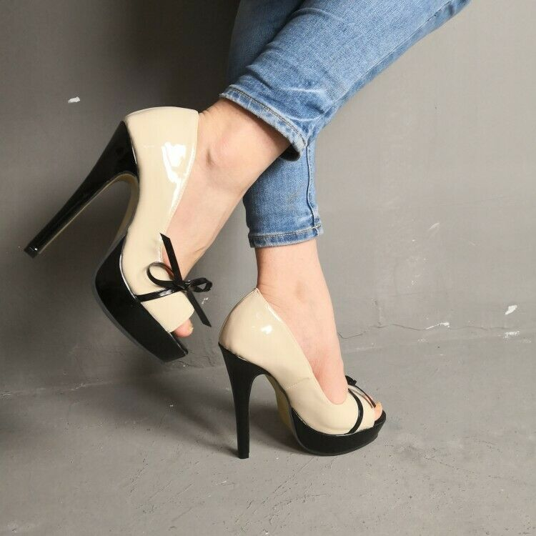 Womens Fashion Hot Sexy Open Toe Bowknot Pumps High Heels Party shoes Sz S117